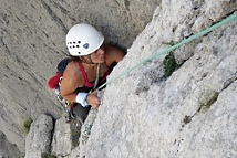 Multi-pitch sport climbing in Paklenica